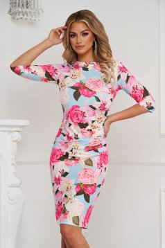 StarShinerS dress long sleeve pencil midi from elastic fabric slightly wrinkled fabric with floral print