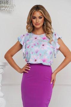 Bluza dama StarShinerS cu croi larg din material fin la atingere cu volanase si imprimeu floral unic