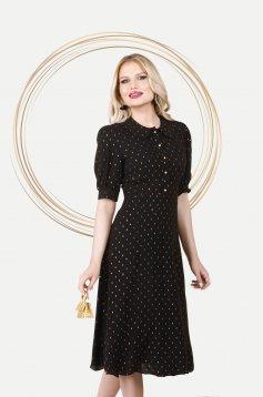 Black dress elegant midi cloche airy fabric with puffed sleeves