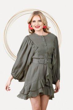Khaki dress elegant short cut cloche with elastic waist airy fabric with puffed sleeves