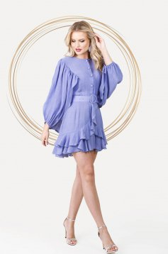 Lightpurple dress elegant short cut cloche with elastic waist airy fabric with puffed sleeves
