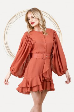 Bricky dress elegant short cut cloche with elastic waist airy fabric with puffed sleeves