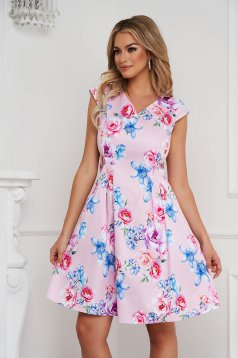 Dress short cut cloche soft fabric with pockets with floral print