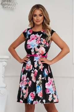 Dress elegant cloche slightly elastic fabric with floral print short cut