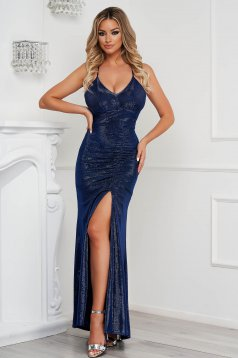 Blue dress occasional long pencil with push-up cups with straps