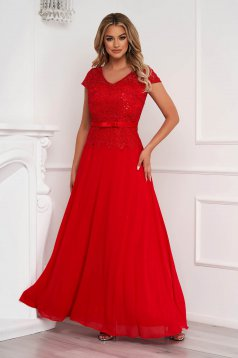 Red dress occasional long cloche from veil fabric laced