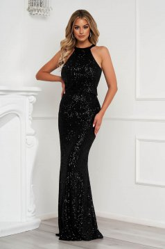 Black dress long occasional pencil with sequins halter neck