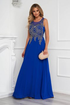 Blue dress long occasional cloche from tulle front embroidery with crystal embellished details
