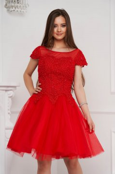 Red dress short cut occasional cloche from tulle with embroidery details with pearls
