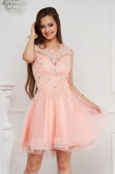 Lightpink dress short cut cloche from tulle with sequin embellished details