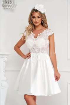 White dress short cut occasional laced from satin fabric texture cloche