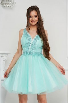 Aqua dress short cut occasional cloche from tulle with sequin embellished details