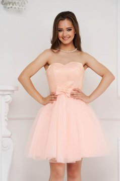 Lightpink dress short cut occasional from tulle with lace details with bow