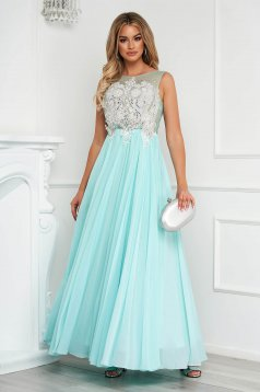 Aqua dress long cloche from veil fabric with crystal embellished details sleeveless occasional