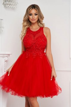 Red dress short cut occasional cloche with lace details with pearls from tulle