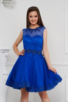 Blue dress short cut cloche from tulle with pearls with embellished accessories