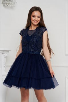 Darkblue dress short cut cloche from tulle with sequin embellished details sleeveless