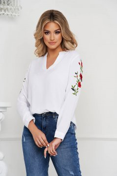 White women`s blouse cotton loose fit long sleeved