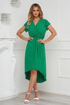 Rochie Lady Pandora verde midi asimetrica in clos cu elastic in talie din material vaporos