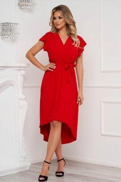Red dress midi asymmetrical cloche with elastic waist airy fabric