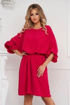 Fuchsia dress short cut airy fabric cloche with elastic waist with ruffled sleeves
