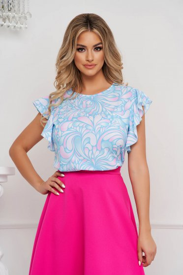 StarShinerS women`s blouse loose fit with ruffled sleeves with graphic details office