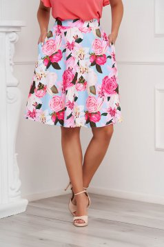 StarShinerS skirt midi cloche office with pockets with floral print