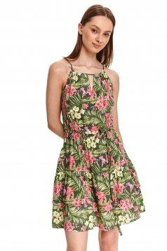 Green dress short cut cloche airy fabric halter neck