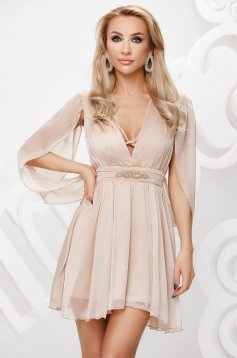 Cream dress from veil fabric occasional cloche transparent chiffon fabric with embellished accessories