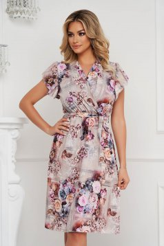 Dress midi cloche with elastic waist airy fabric with ruffled sleeves