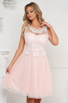 Lightpink dress midi occasional cloche from tulle sleeveless laced