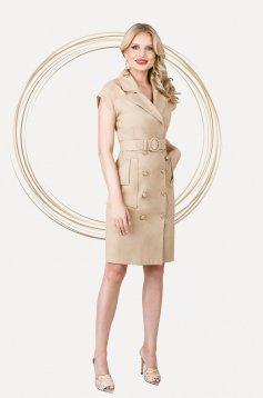 Cream dress midi straight sleeveless with pockets