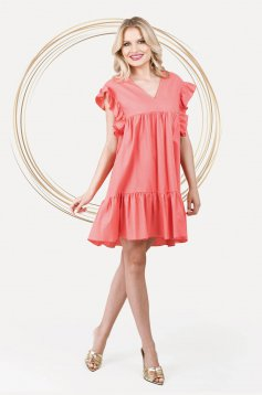 Loose fit with pockets with ruffle details linen short cut coral dress