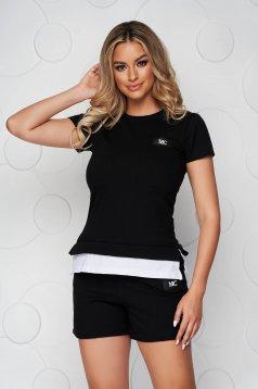 Black sport 2 pieces cotton women`s shorts women`s t-shirt