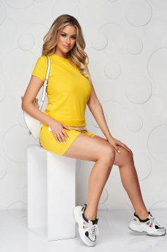 Yellow sport 2 pieces cotton women`s shorts women`s t-shirt
