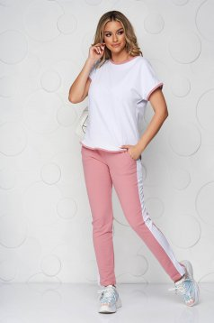 Lightpink sport 2 pieces cotton loose fit from elastic fabric