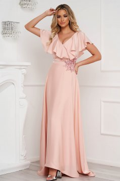 StarShinerS lightpink dress occasional long from veil fabric frilly trim around cleavage line cloche