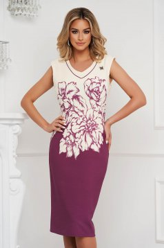 Purple dress elegant midi from elastic fabric sleeveless with v-neckline