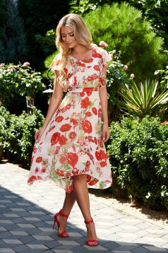 StarShinerS dress cloche asymmetrical with floral print thin fabric with ruffled sleeves occasional