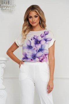 Bluza dama StarShinerS cu croi larg asimetrica din voal cu imprimeuri florale unice