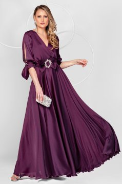 Purple dress long occasional from veil fabric cloche with elastic waist with cut-out sleeves
