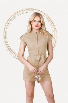 Cappuccino jumpsuit short cut linen with pockets detachable cord