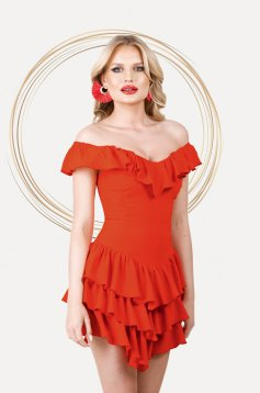 Red dress short cut asymmetrical cloche naked shoulders with ruffle details