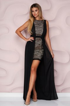StarShinerS black dress occasional pencil laced voile overlay