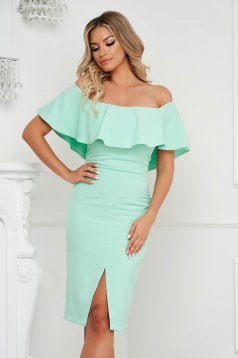 StarShinerS mint pencil dress midi frilly trim around cleavage line occasional