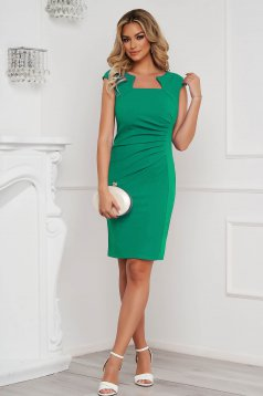 Green dress office short cut pencil from elastic fabric short sleeves