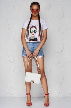 Tricou SunShine alb din bumbac cu croi larg si imprimeuri grafice cu aplicatii cu perle