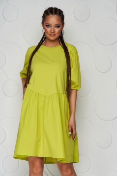 Rochie verde-deschis scurta din bumbac cu croi larg si maneci scurte prinse in elastic