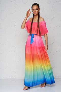 Rochie SunShine multicolora lunga din voal cu croi larg si umeri goi accesorizata cu cordon