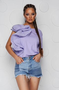 Bluza dama SunShine lila din bumbac usor elastic cu croi larg si volanase